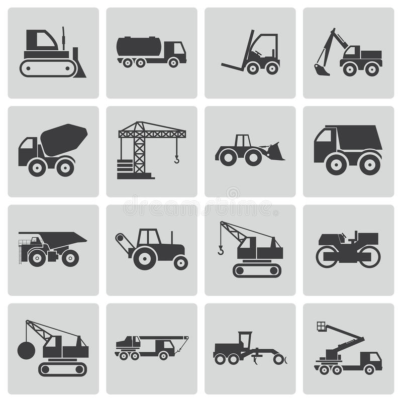 Free Vector Black Construction Transport Icons Set Stock Image - 35255801
