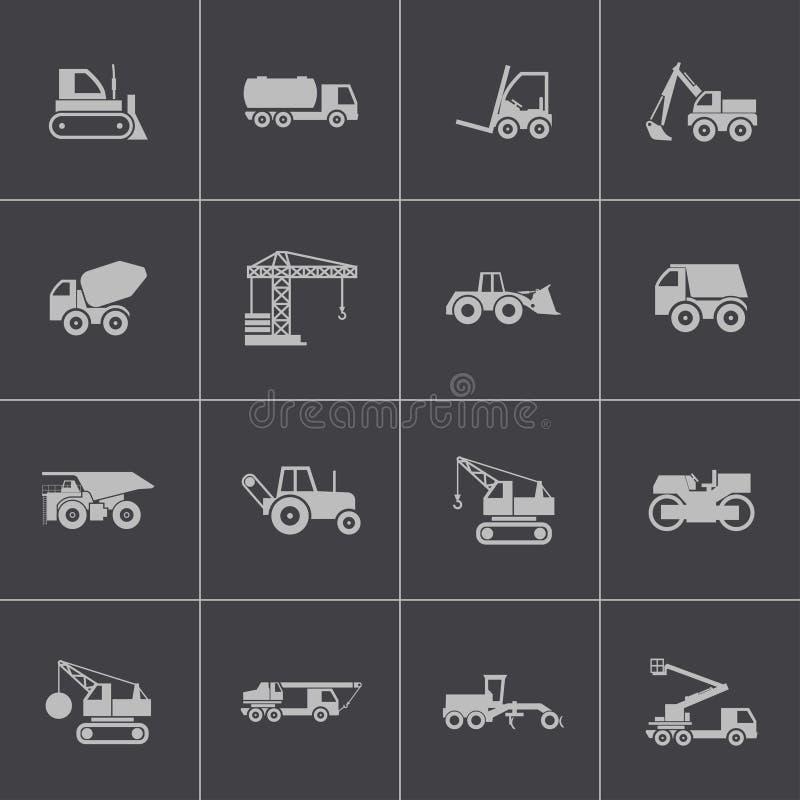 Free Vector Black Construction Transport Icons Set Royalty Free Stock Photo - 36163215