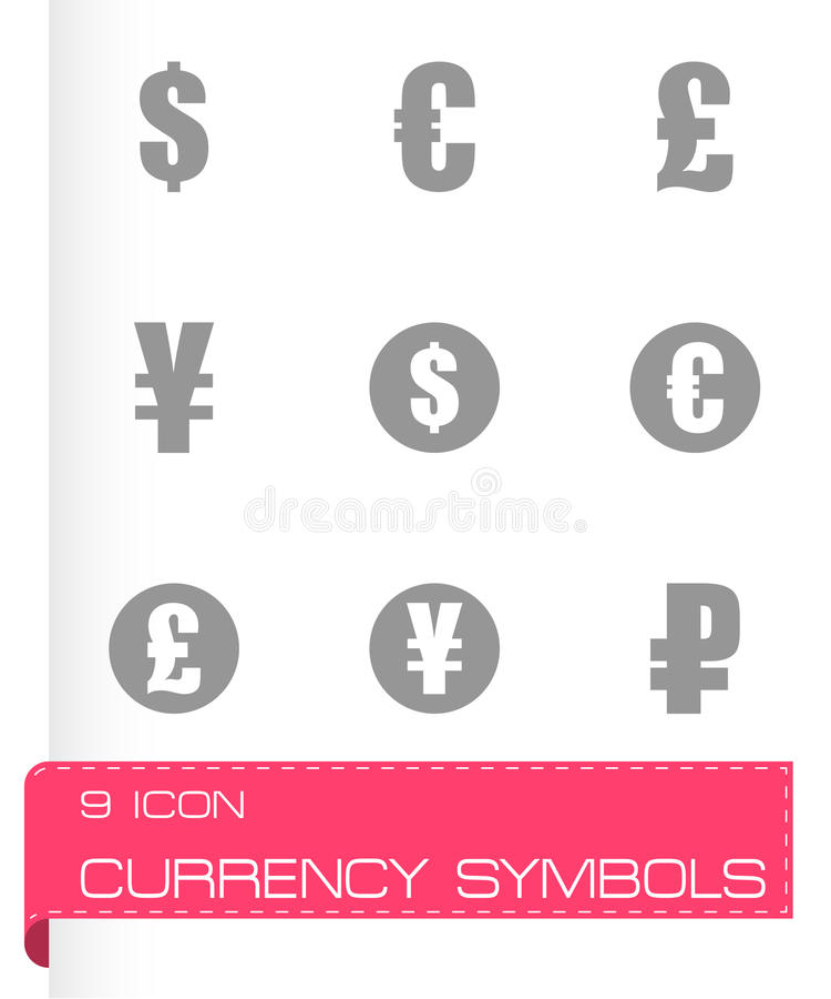Vector black currency symbols icons set vector illustration