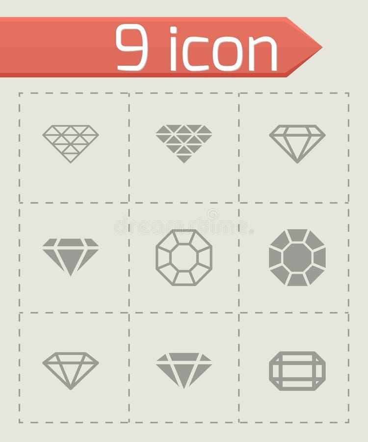 Vector black diamond icon set. On grey background vector illustration