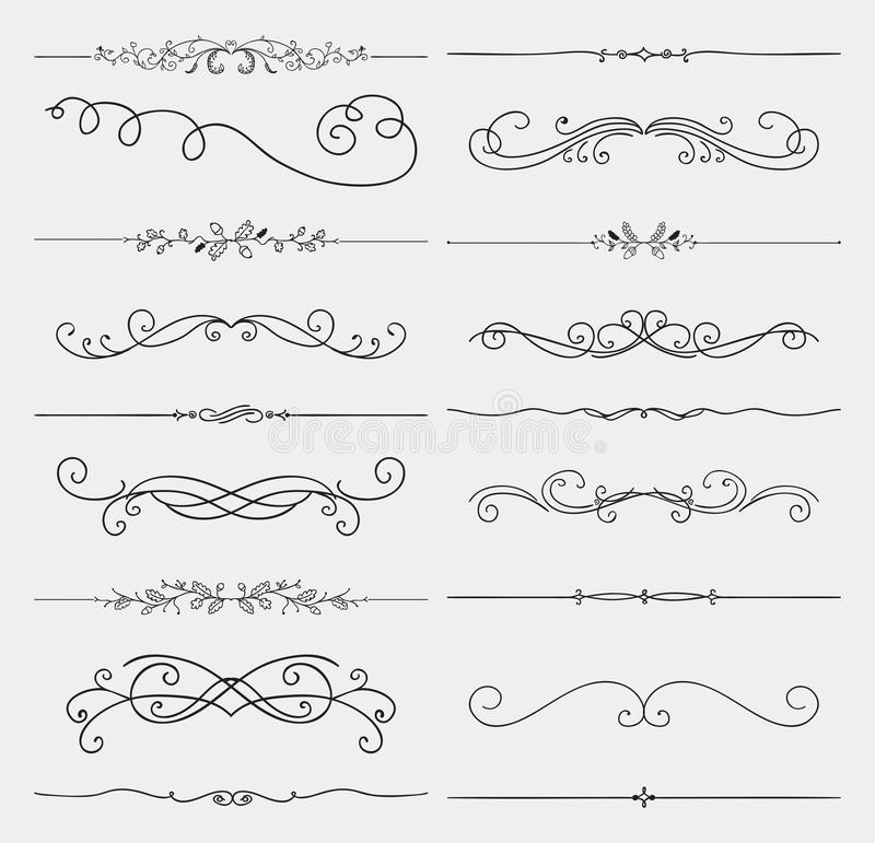Set Of Black Flower Design Elements Royalty Free Stock: Vector Black Doodle Hand Drawn Swirls Collection Stock