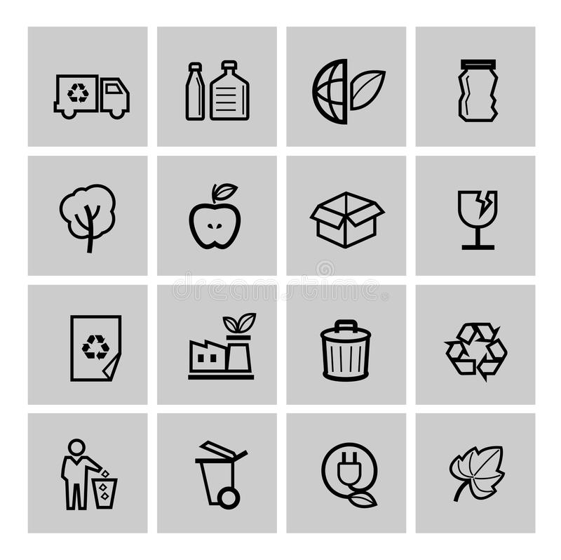 Download Vector Black Eco Icons Set Royalty Free Stock Images - Image: 38523009