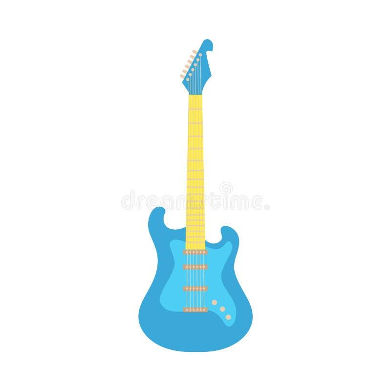 Vector black electric guitar, classic rock icon stock illustration