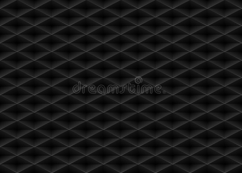 Vector black embossed pattern plastic grid seamless background. Diamond shape cell endless texture. Web page fill dark geometric vector illustration