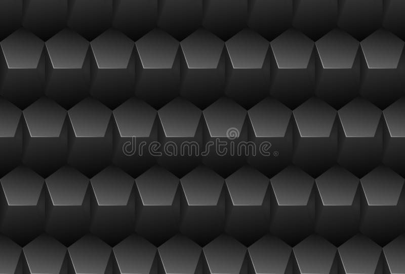 Vector black embossed pattern plastic pentagon grid seamless background. Endless metal texture. Web page fill dark geometric. Pattern royalty free illustration