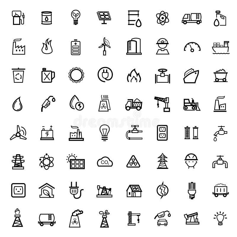 Vector black energy icons set royalty free illustration