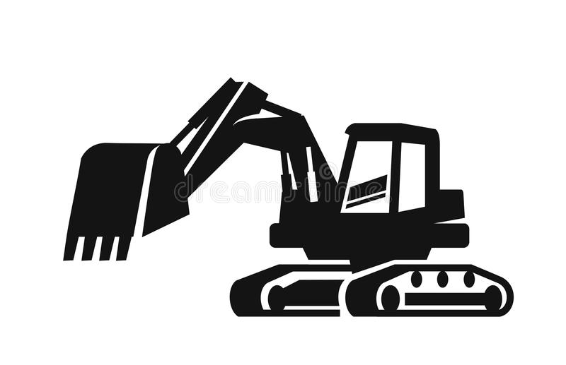 Vector black Excavator. Icon on white background royalty free illustration