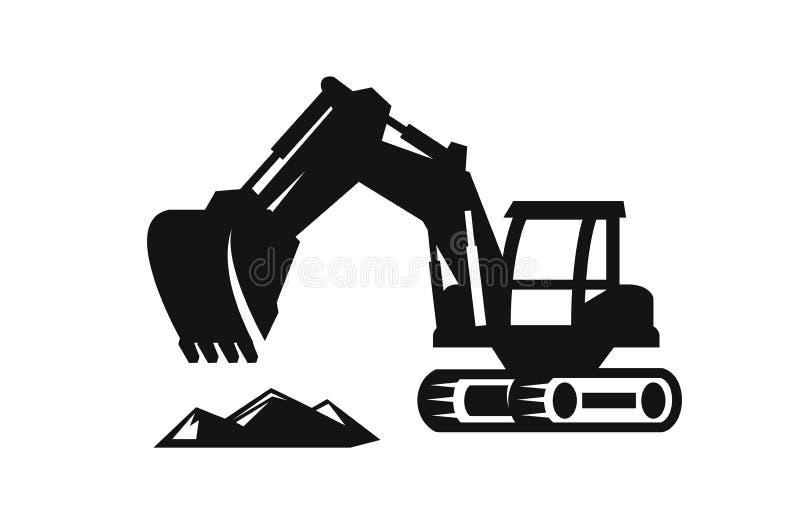 Vector black Excavator. Icon on white background vector illustration