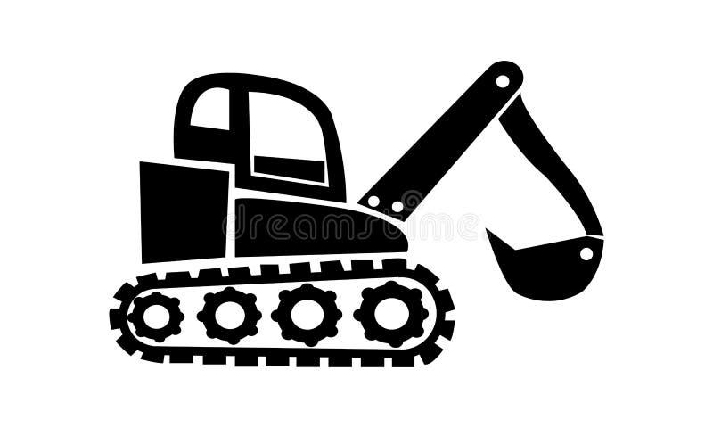 Vector black Excavator icon on white background. Excavator icon.Vector black Excavator icon on white background.Digger symbol. Vector illustration royalty free illustration