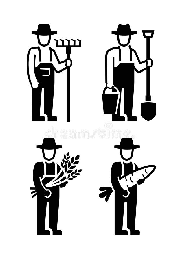 Vector black farmer vector illustration