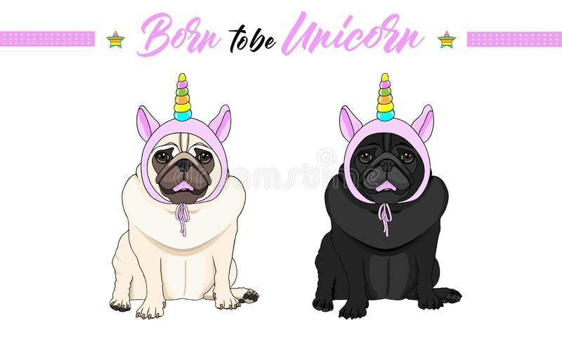 Vector black and fawn pug puppy dogs sitting down, wearing pink bonnet with unicorn horn with rainbow colors vector illustration