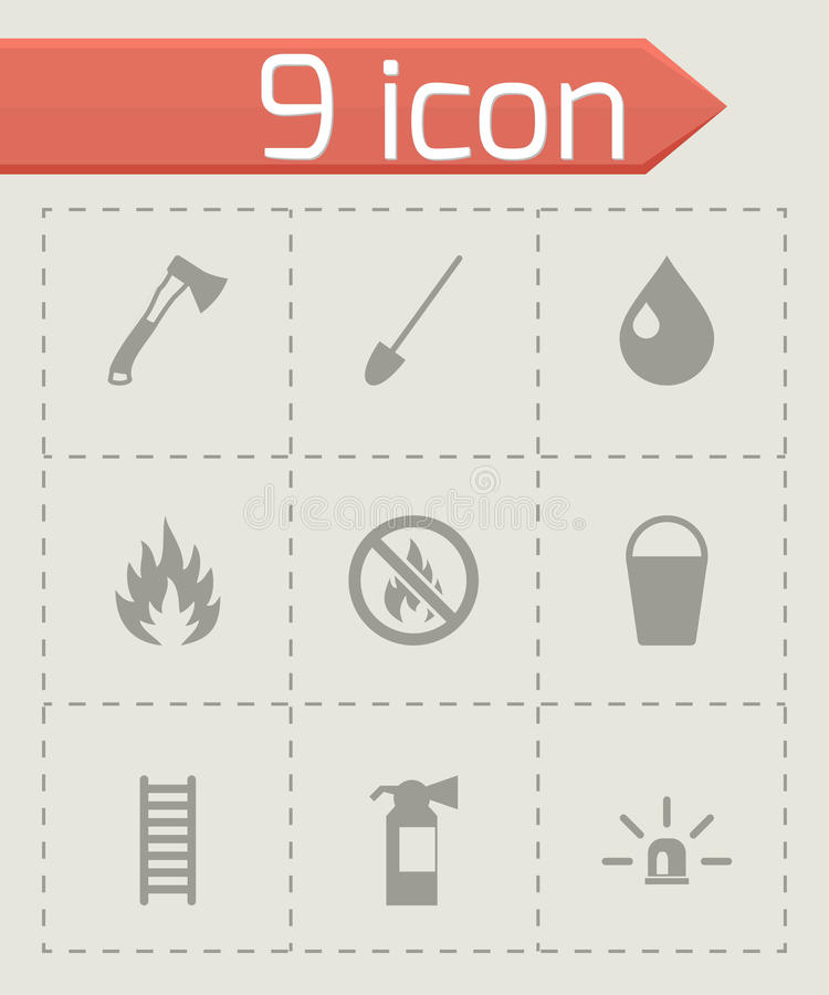 Vector black firefighter icon set royalty free illustration