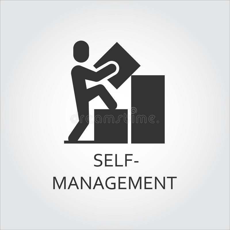 Vector black flat icon self-management as man builds graph stock illustration