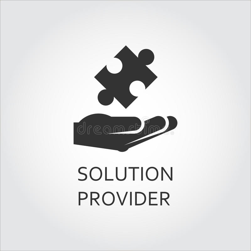 Vector Black Flat Icon Solution Provider As Hand Giving ...