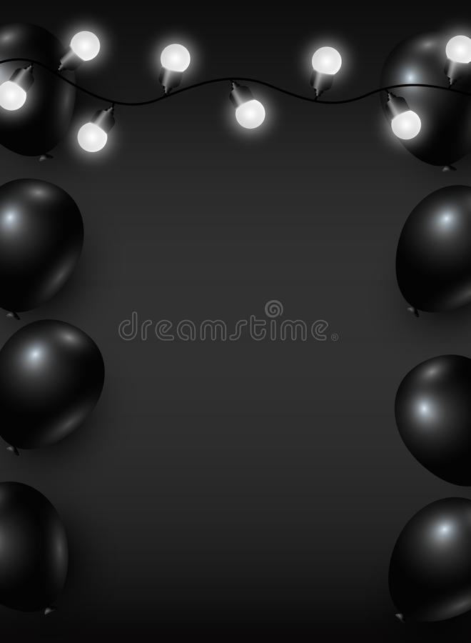 Vector black friday background design of balloon and light bulb stock illustration