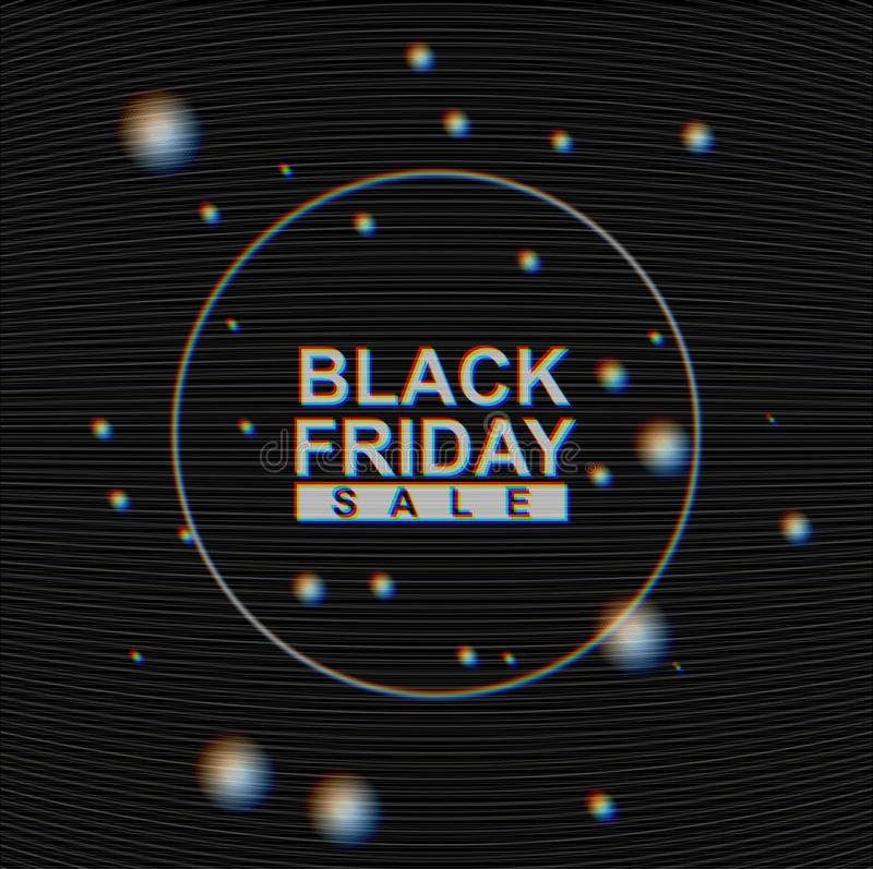 Vector Black Friday Sale banner on Analog TV Glitch moire background. No signal noise, dark abstract texture. Interference in air. vector illustration