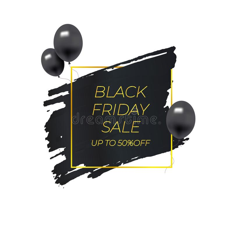 Vector Black Friday Sale Banner Isolated, Black Paint Brush Stroke and Golden Square Frame, Black Balloons, Design Element. royalty free illustration