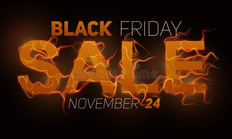 Vector Black Friday Sale text with orange fire flames background. Wavy threads from golden letters. Hot Black friday stock illustration