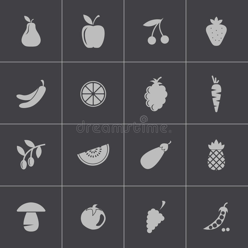 Vector black fruits and vegetables icons set vector illustration