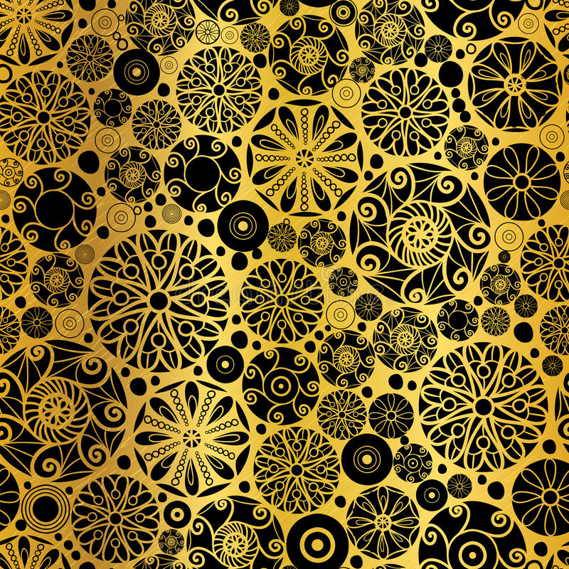 Vector Black Gold Abstract Doodle Circles Seamless Pattern Background. Great for elegant texture fabric, cards, wedding. Invitations, wallpaper. Surface pattern royalty free illustration