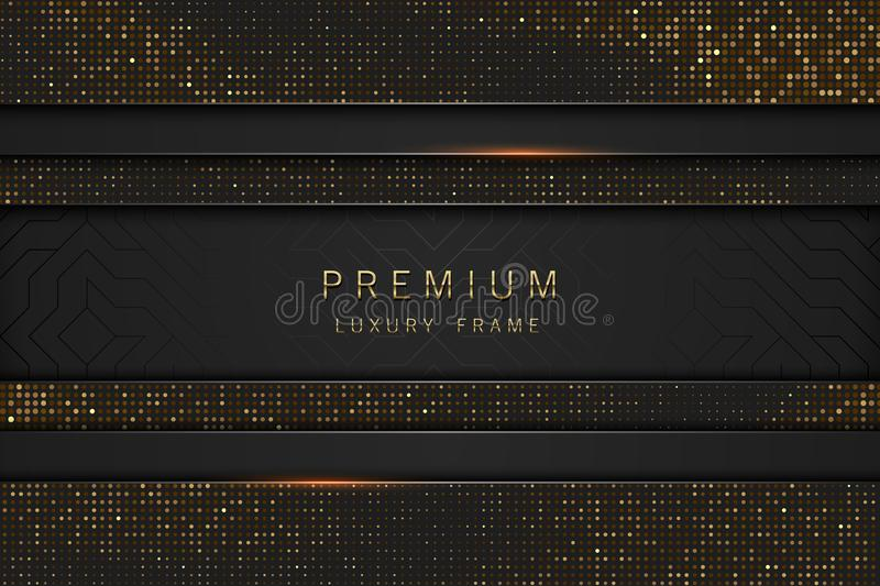 Vector black and gold abstract headline luxury frame. Sparkling sequins on black background vector illustration