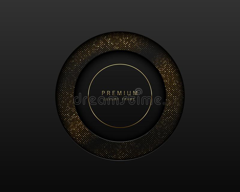 Vector black and gold abstract round luxury frame. Sparkling sequins on black background with golden ring. Premium label royalty free illustration