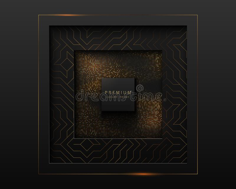 Vector black and gold abstract square luxury frame. Geometric golden pattern, sparkling sequins on black background. Premium label stock illustration