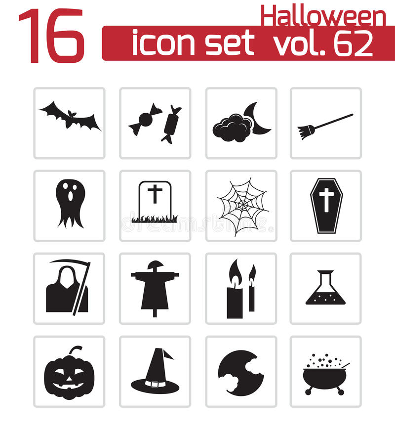 Vector Black Halloween Icons Royalty Free Stock Image