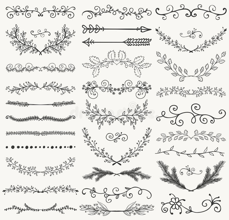 Vector Black Hand Drawn Dividers, Branches, Swirls stock illustration
