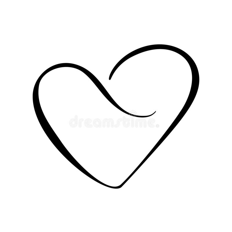 Vector black heart sign. Icon on white background. Illustration romantic symbol linked, join, love, passion and wedding. Template for t shirt, card, poster royalty free illustration