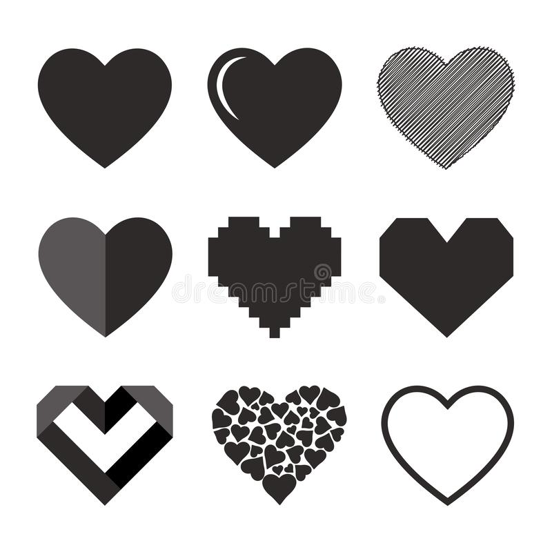Set of hearts, vector icon royalty free illustration