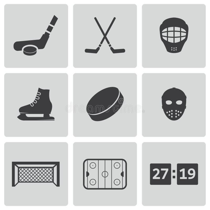 vector black hockey icons set royalty free stock image