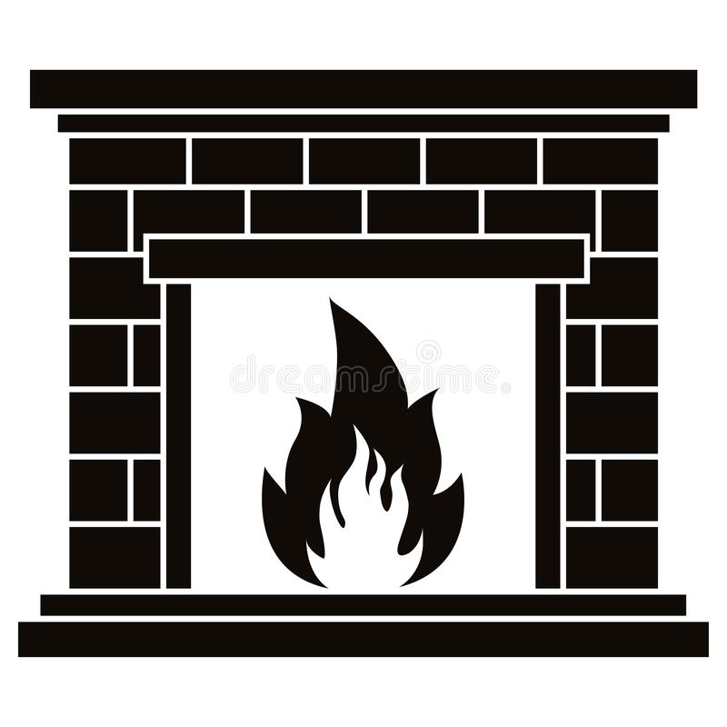 Free Vector Black Icon Of Retro Brick Fireplace With Fire Flame Illustration Isolated On White Background. Royalty Free Stock Photo - 161060105