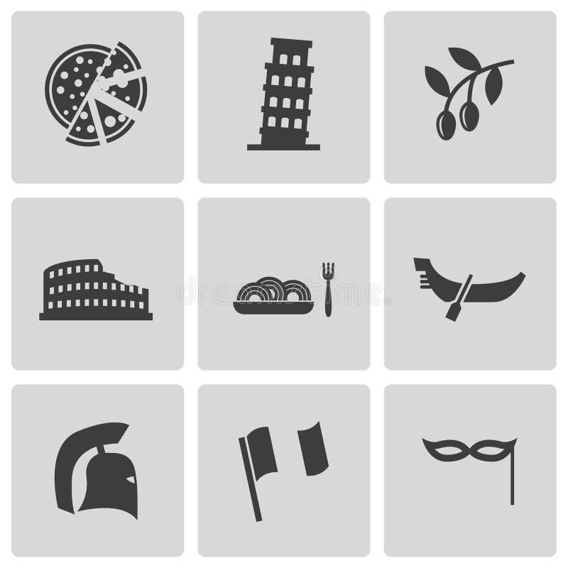 Vector black italian icons set vector illustration