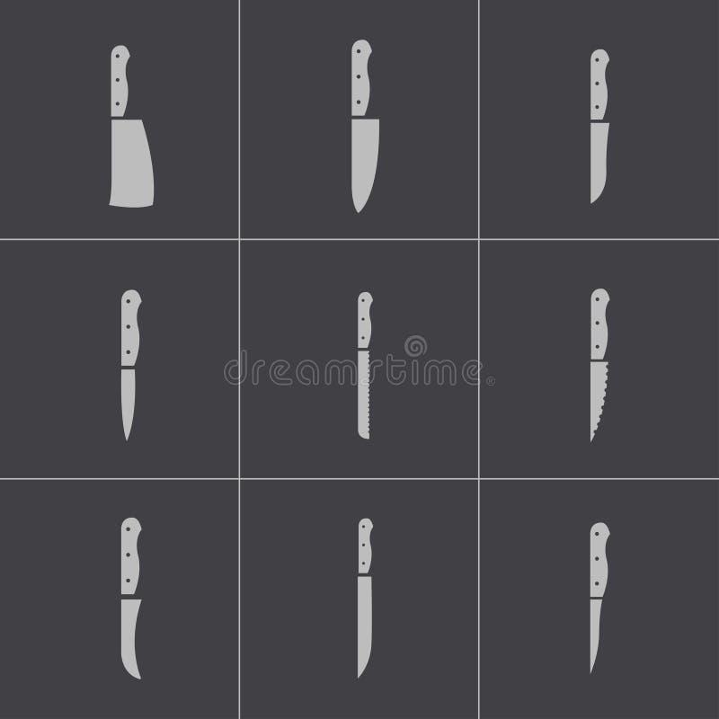 Free Vector Black Kitchen Knife Icons Set Stock Image - 36164671