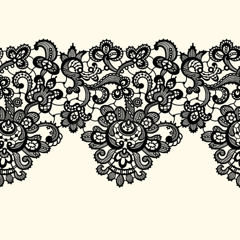 vector black lace border seamless pattern stock vector rh dreamstime com white lace border vector lace border vector png