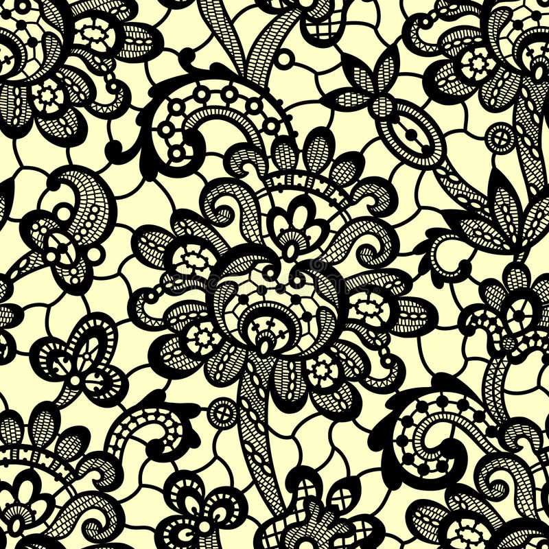 Vector Black Lace. Seamless Pattern. royalty free illustration