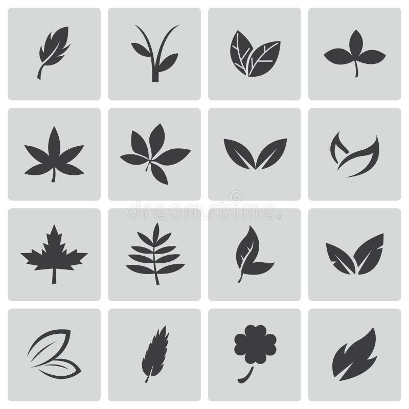 Vector black leaf icons set stock illustration