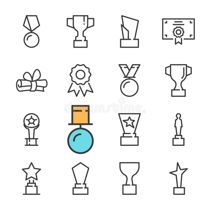 Vector black line Awards icons set. Includes such Icons as cup, Medal. Outline royalty free illustration
