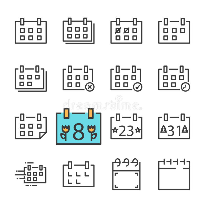 Vector black line Calendar icons set. Includes such Icons as Calendar, Rejected. Approved, Holiday. Isolated on white background vector illustration