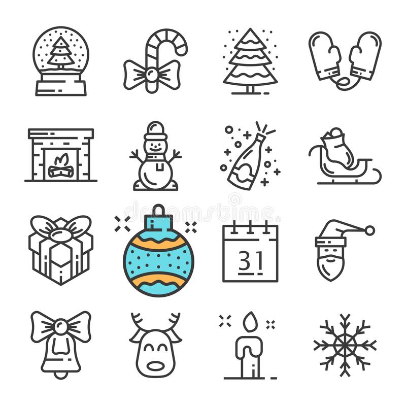 Vector black line Christmas and New Year icons set. Includes such Icons as Snowman, Mittens, Snow, Gift, Fireplace. Pictogram royalty free illustration