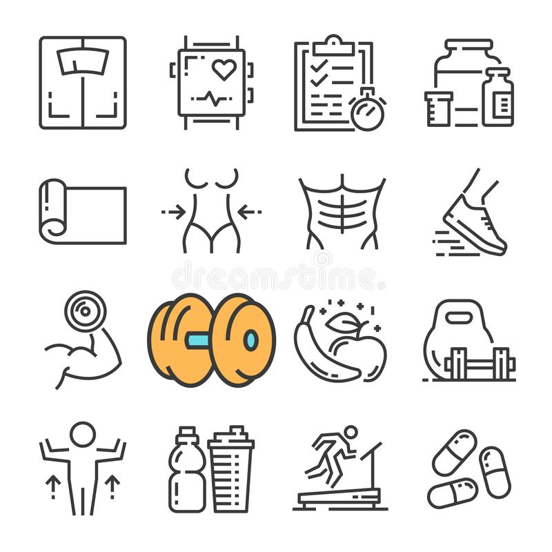 Vector black line Fitness Gym Equipment icons set. Includes such Icons as Equipment Fitness, Body Woman and Man. vector illustration