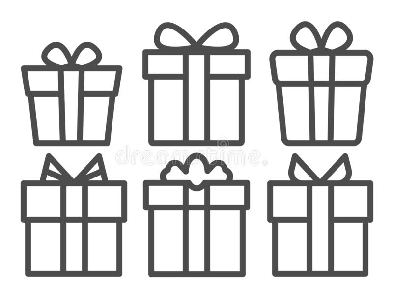 Vector black line Gifts icons set. Gifts isolated white background royalty free illustration