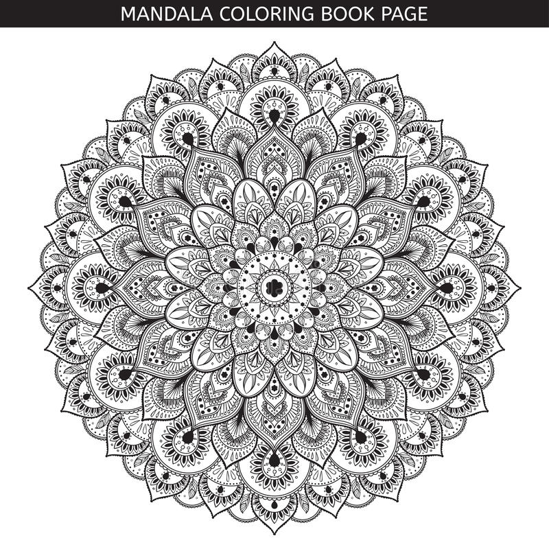 Vector black mandala on white background. Monochrome illustration. stock illustration