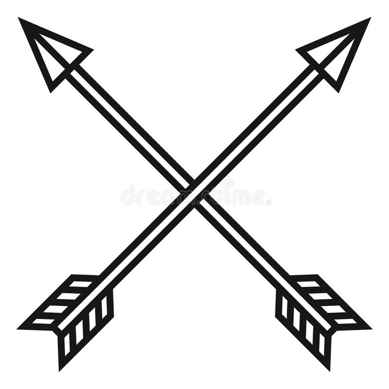 vector black medieval icon of crossed arrows stock illustration illustration of archery bow and arrow vector images bow arrow vector icon