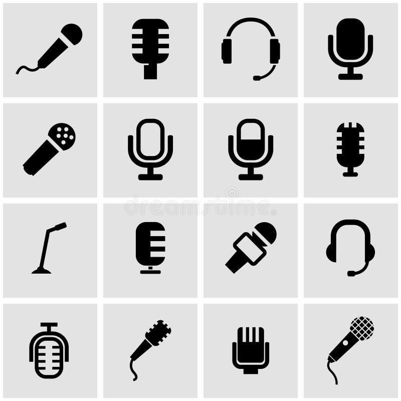 Vector black microphone icon set royalty free illustration