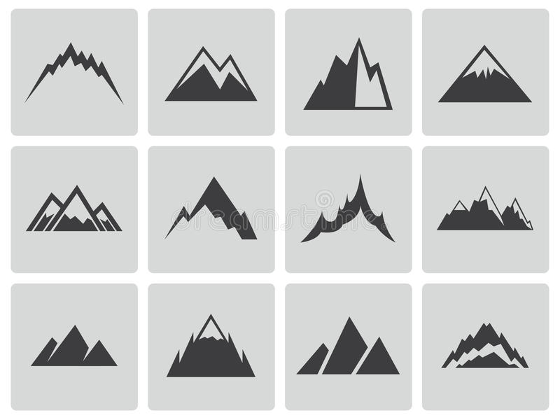 Download Vector Black Mountains Icons Set Stock Vector - Image: 35255944