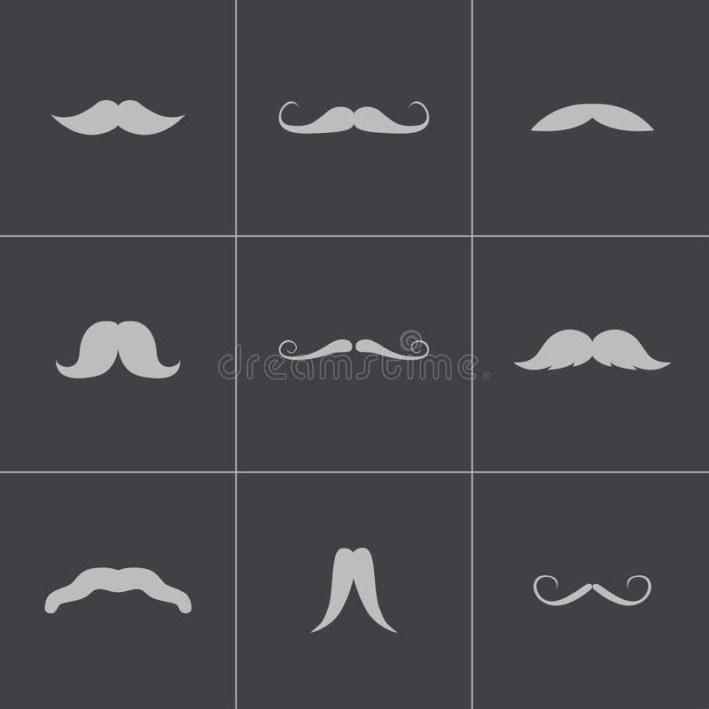 Vector black mustaches icons set stock illustration