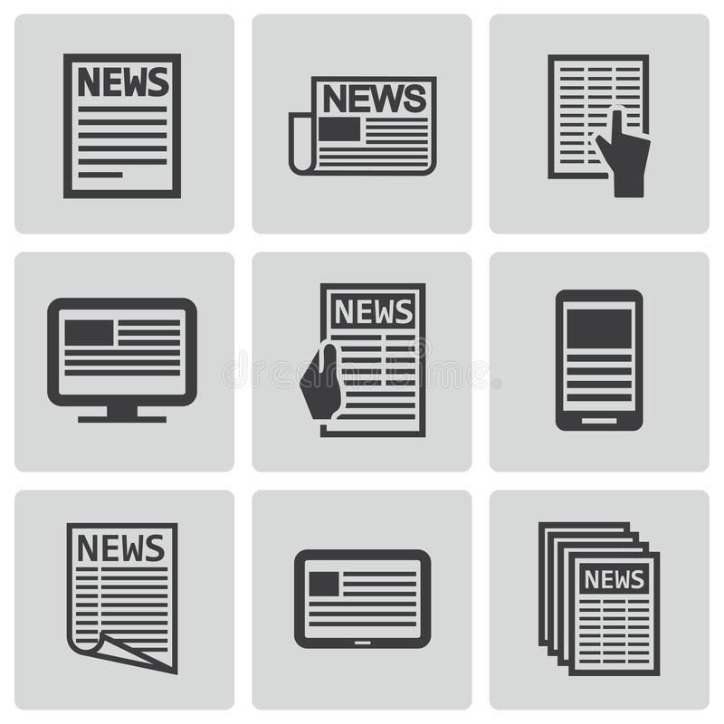 Vector black newspaper icons set. This is file of EPS10 format vector illustration