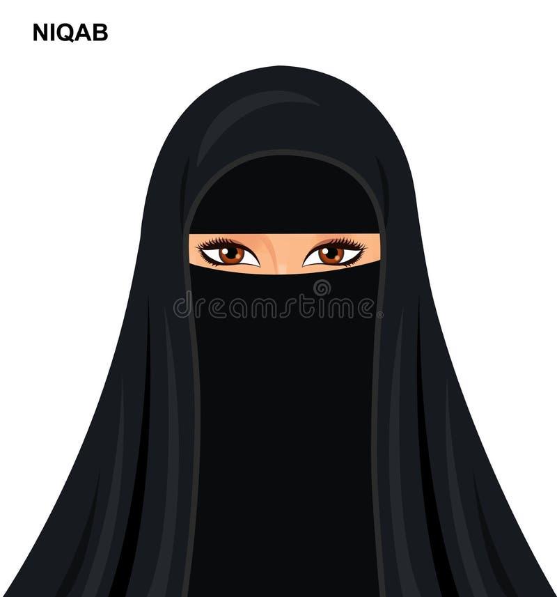 Vector - black niqab style, beautiful arabic muslim woman - Illustration isolated royalty free stock image